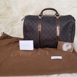 Auth. Gucci Boston Joy Dark Brown Top Handle Bag